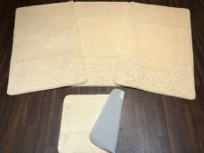 ROMANY TOURER SIZE GYPSY MAT SETS NON SLIP SUPER THICK CREAM/IVORY WASHABLE BOWS